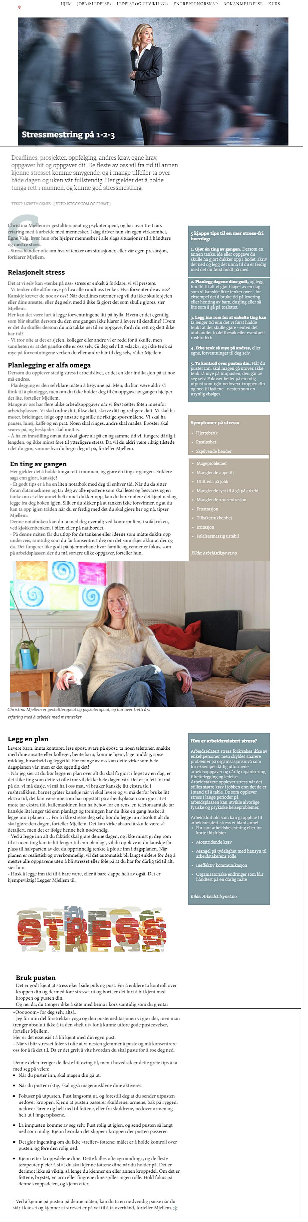 Stressmestring 1 2 3 Ledernytt Christina Mjellem Gestaltterpeut